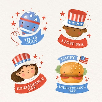 Hand painted watercolor 4th of july - independence day badge collection