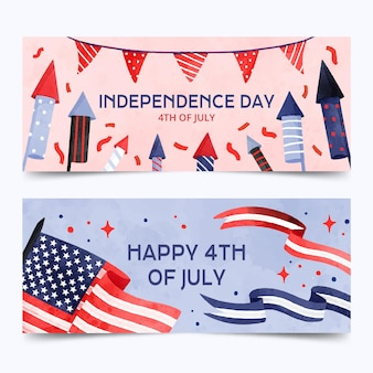 Acquerello dipinto a mano del 4 luglio set di banner giorno dell'indipendenza