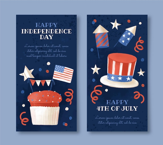 Hand painted watercolor 4th of july - independence day banners set