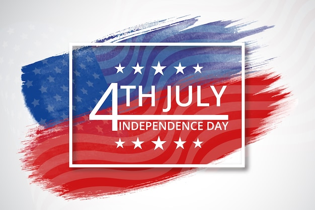 Hand painted watercolor 4th of july independence day illustration