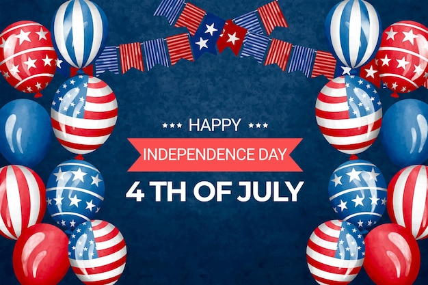 Hand painted watercolor 4th of july - independence day illustration