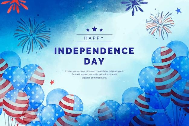 Ручная роспись акварелью 4 июля - день независимости воздушные шары фон
