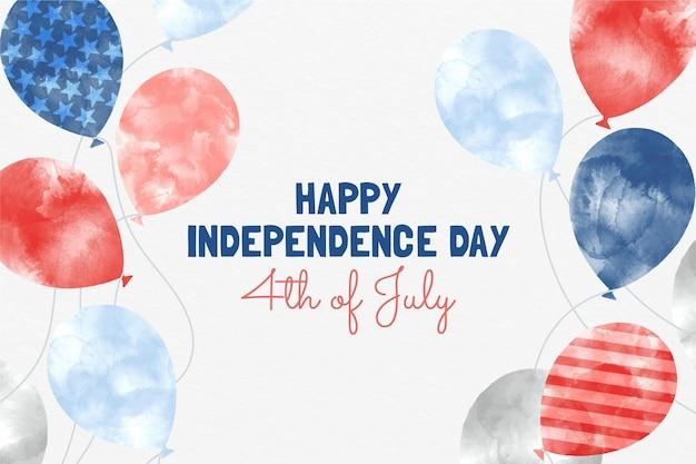 Ручная роспись акварелью 4 июля - фон с воздушными шарами на день независимости
