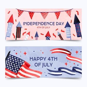 手描き水彩画7月独立記念日のバナーセットの4日