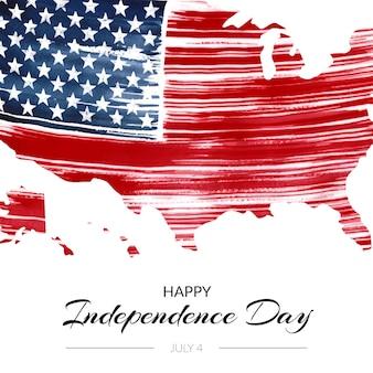Ручная роспись акварелью 4 июля - иллюстрация дня независимости