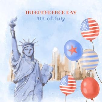 손으로 그린 수채화 7 월 4 일-독립 기념일 그림