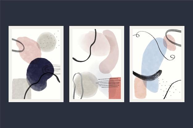 手描き水彩抽象芸術カバーコレクション 無料ベクター