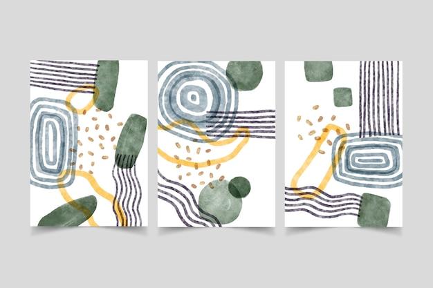 Collezione di copertine di arte astratta dell'acquerello dipinto a mano