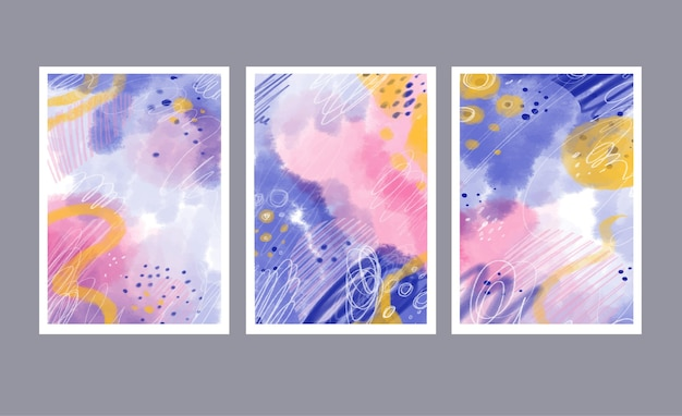 Hand painted watercolor abstract art cover collection