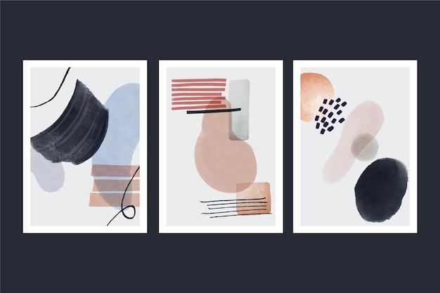 手描き水彩抽象芸術カバーセット 無料ベクター