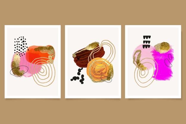 Collezione di copertine di arte astratta ad acquerello dipinto a mano