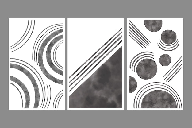 手描きの水彩抽象アート カバー コレクション