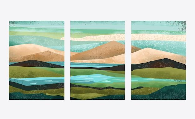 Ручная роспись акварельной абстрактной пейзажной обложкой