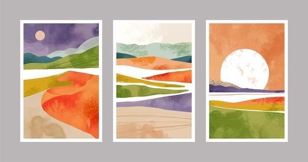手描きの水彩抽象的な風景カバーコレクション