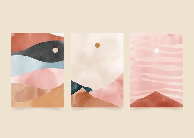Collezione di copertine di paesaggi astratti ad acquerello dipinto a mano