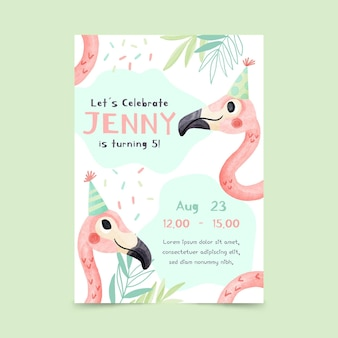 손으로 그린 수채화 동물 생일 초대장 템플릿