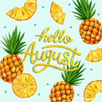Ручная роспись акварелью августовская надпись с фруктами