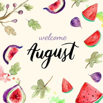 Hand painted watercolor august lettering with fruits