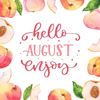 果物と手描きの水彩画の8月のレタリング
