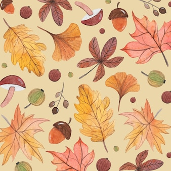Hand painted watercolor autumn background