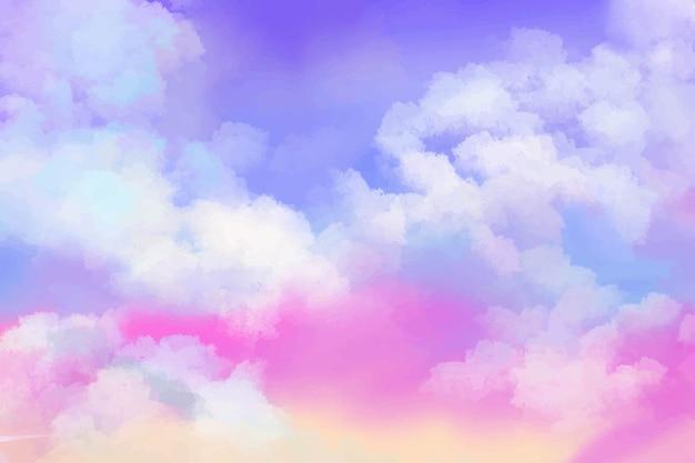 손으로 그린 수채화 배경 그라데이션 파스텔 하늘과 구름 모양 프리미엄 벡터