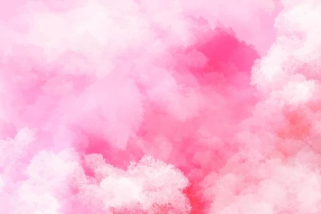 손으로 그린 수채화 배경 핑크 하늘과 구름 모양