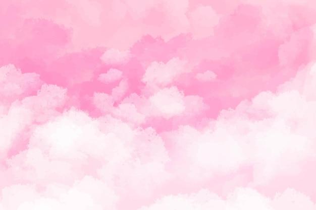 Sfondo acquerello dipinto a mano rosa con forma di cielo e nuvole