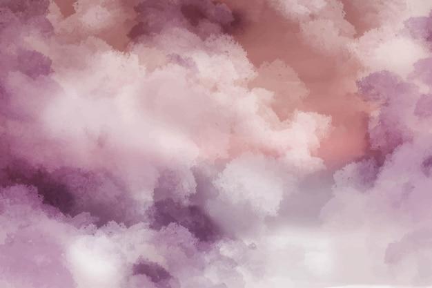 空と雲の形で手描きの水彩画の背景