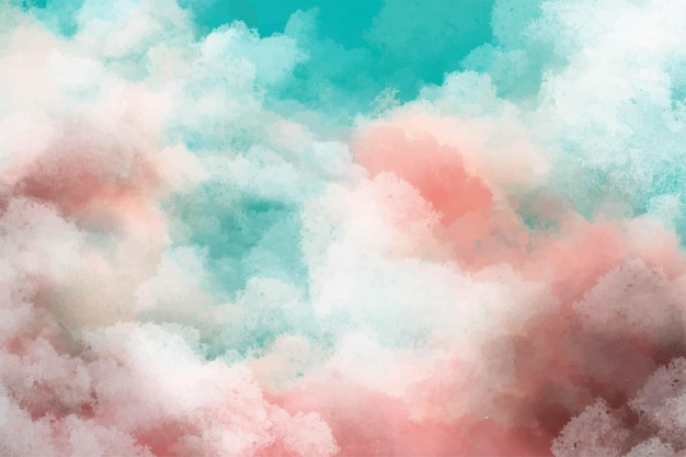 Hand painted watercolor background with sky and clouds shape