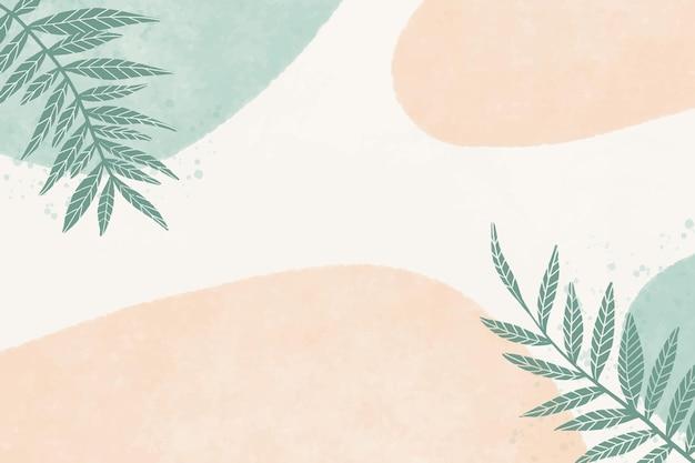 손으로 얼룩과 잎 수채화 배경을 그린
