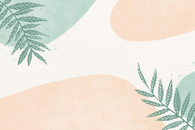 Hand painted watercolor background with stains and leaves