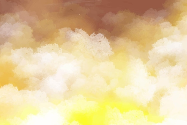 Hand painted watercolor background yellow with sky and clouds shape