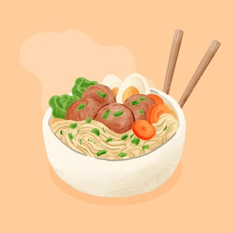 Hand painted watercolor bakso in a bowl