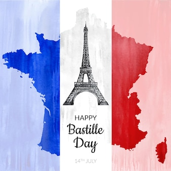 Hand painted watercolor bastille day illustration