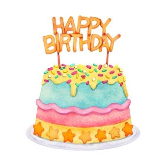 손으로 그린 수채화 생일 케이크 토퍼