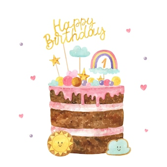 Hand painted watercolor birthday cake with topper Free Vector