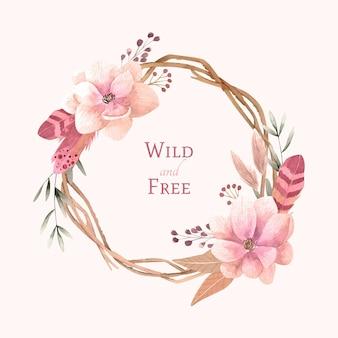 花と手描きの水彩自由奔放に生きるフレーム