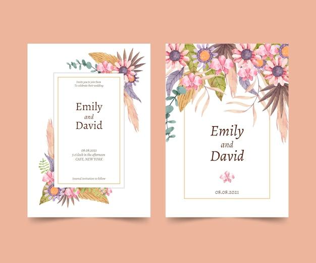 Hand painted watercolor boho wedding invitation template