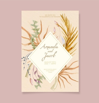 Hand painted watercolor boho wedding invitation template