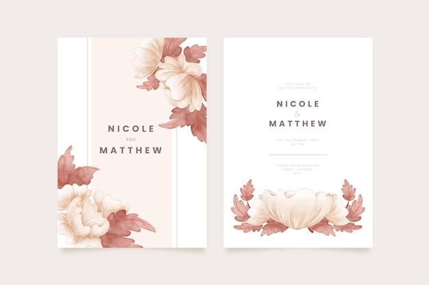 手描きの水彩自由奔放に生きる結婚式の招待状のテンプレート