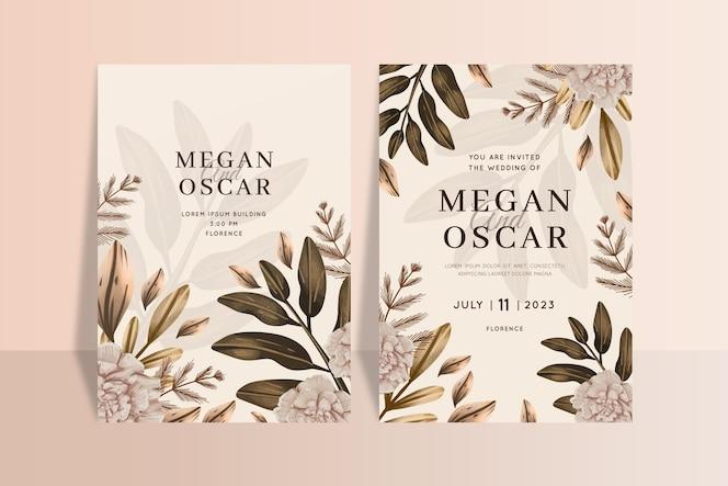 手描きの水彩自由奔放に生きる結婚式の招待状