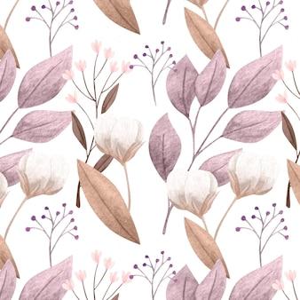 손으로 그린 수채화 식물 패턴 디자인