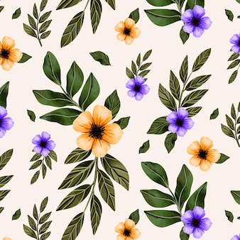 Hand painted watercolor botanical pattern design