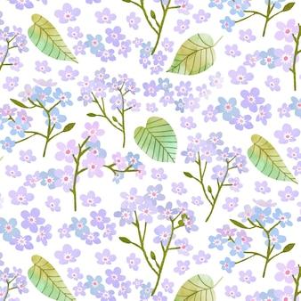 手描きの水彩植物パターン