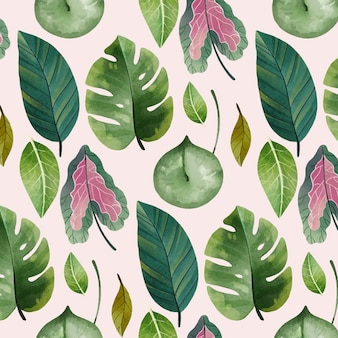 Hand painted watercolor botanical pattern