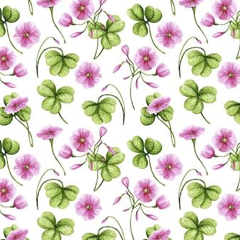 손으로 그린 수채화 식물 패턴