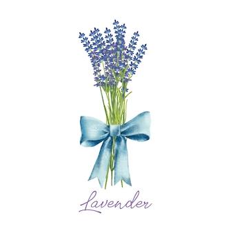 손으로 활과 라벤더 꽃의 수채화 꽃다발을 그린