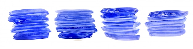 Hand painted watercolor brush stroke set in blue colors