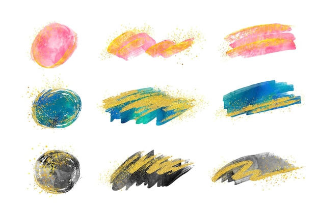 Hand painted watercolor brush strokes collection with gold and glitter