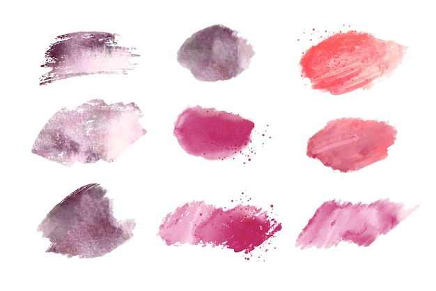 Hand painted watercolor brush strokes collection